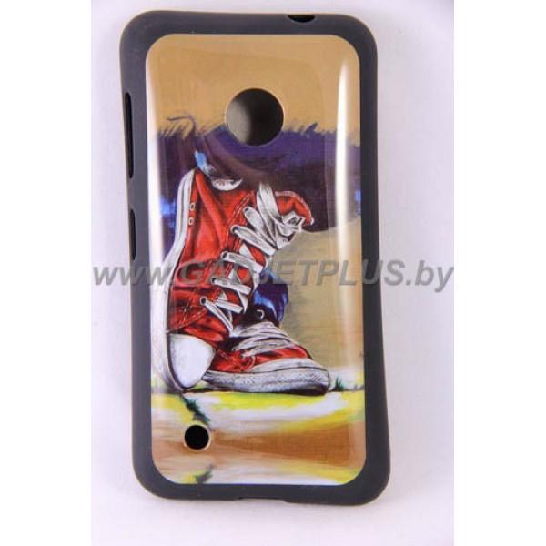 Nokia Lumia 530 чехол-бампер с картинками силиконовый, кеды