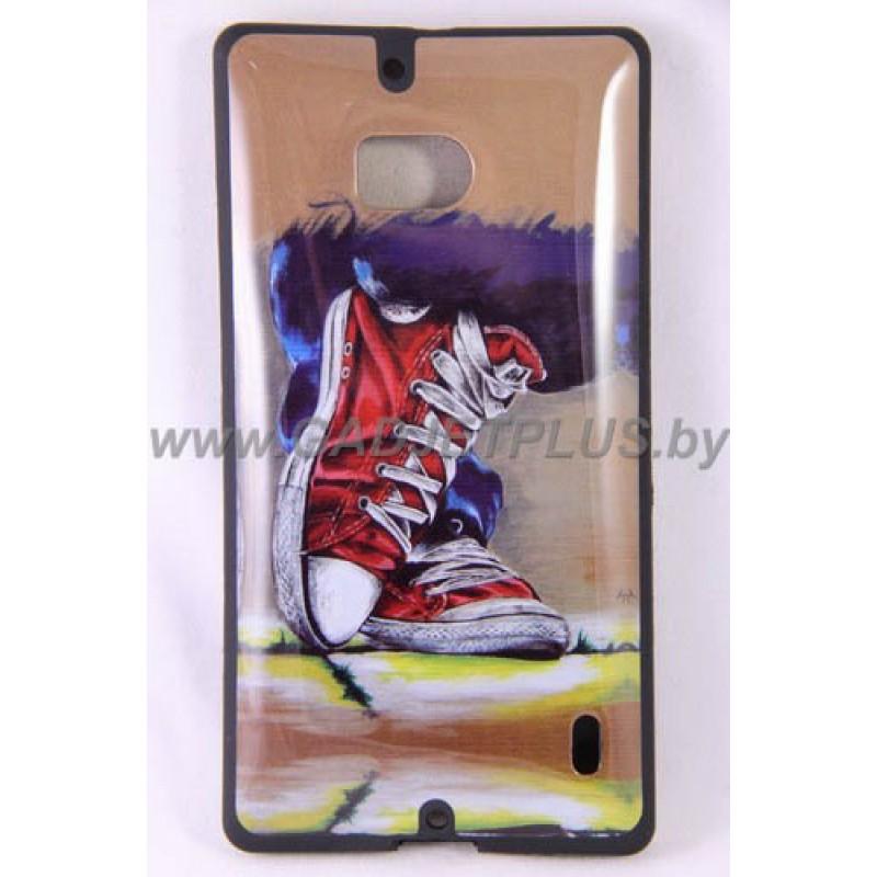 Nokia Lumia 930 чехол-бампер с картинкой красные кеды силиконовый