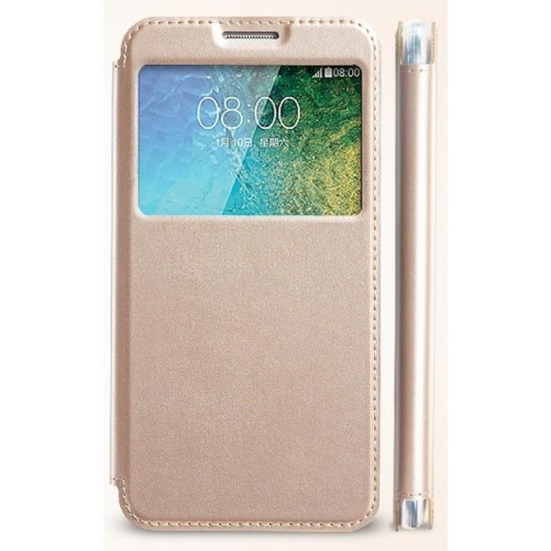 для Samsung Galaxy E5 SM-E500H/DS Чехол-книга с окном Kalaideng Sun Series золотой