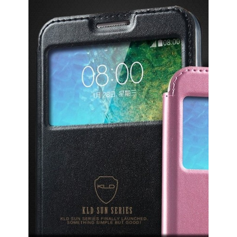для Samsung Galaxy E7 SM-E700F Чехол-книга с окном Kalaideng Sun Series черный