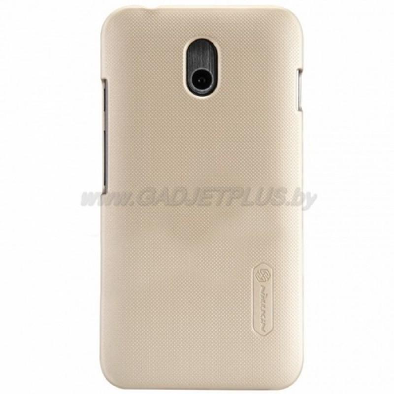 для HTC Desire 210 Чехол-накладка + пленка Nillkin Super Frosted Shield золотой