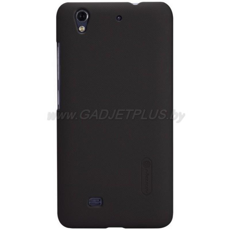 для Huawei Ascend G620 Чехол-накладка + пленка Nillkin Super Frosted Shield коричневый