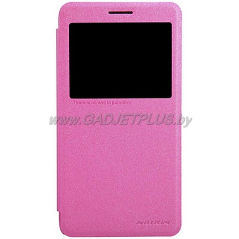 для Lenovo S856 Чехол-книга с окном Nillkin Sparkle Series розовый