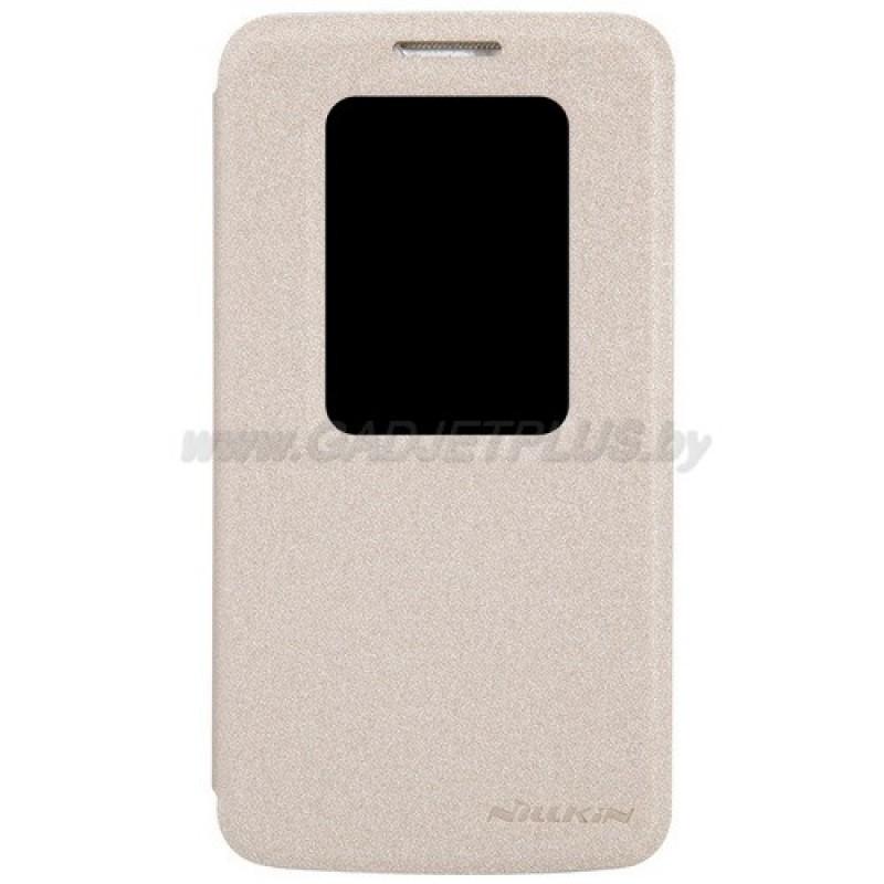 для LG Optimus G2 mini (D618) Чехол-книга с окном Nillkin Sparkle Series золотой