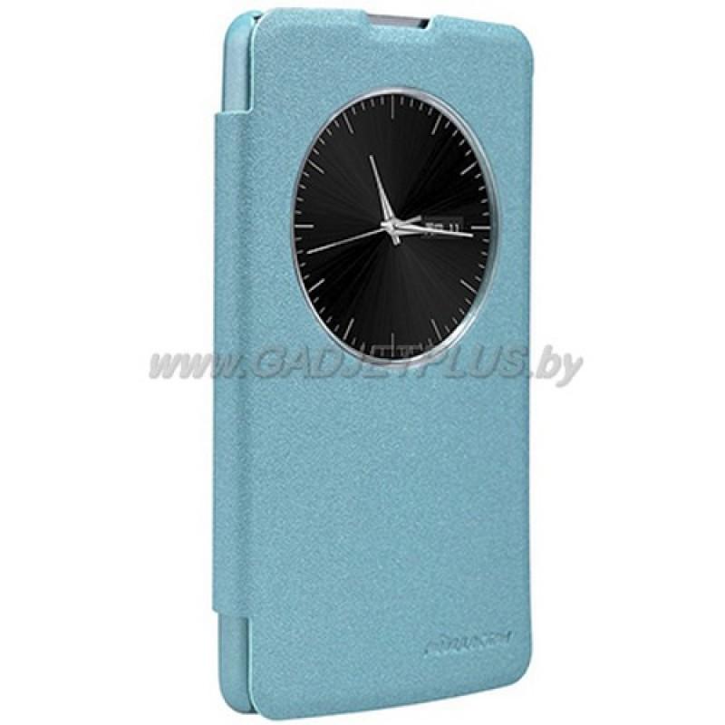 для LG L Fino D295 Чехол-книга (с окном) Nillkin голубой (Sparkle Series)