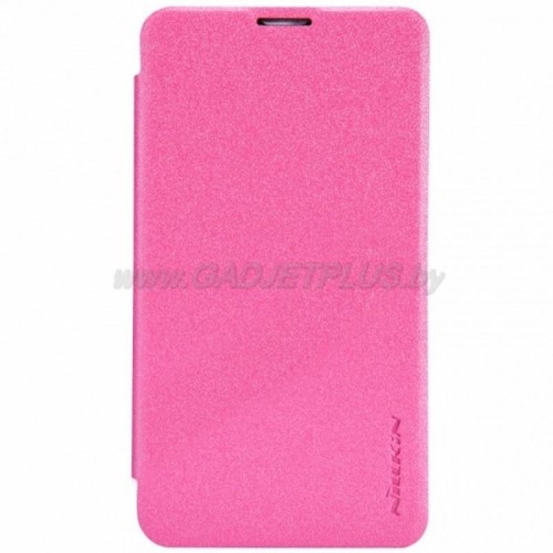 для Nokia Lumia 530 Чехол-книга Nillkin Sparkle Series розово-красный