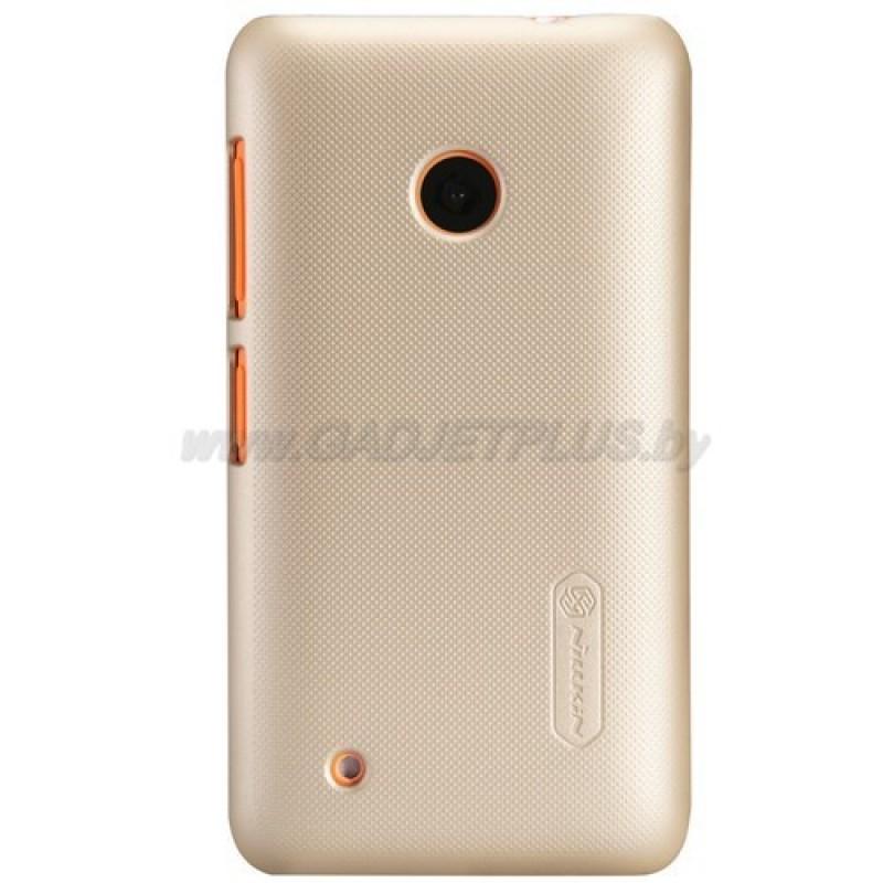 для Nokia Lumia 530 Чехол-накладка + пленка Nillkin Super Frosted Shield золотой