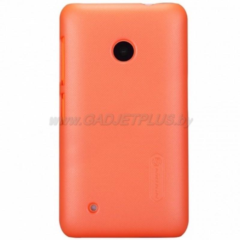 для Nokia Lumia 530 Чехол-накладка + пленка Nillkin Super Frosted Shield оранжевый