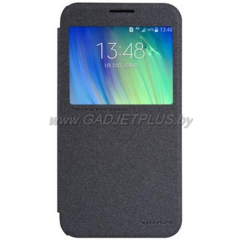 для Samsung Galaxy E7 SM-E700F Чехол-книга с окном Nillkin Sparkle Series черный