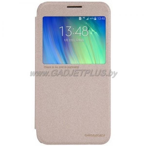 для Samsung Galaxy E7 SM-E700F Чехол-книга (с окном) Nillkin золотой (Sparkle Series)