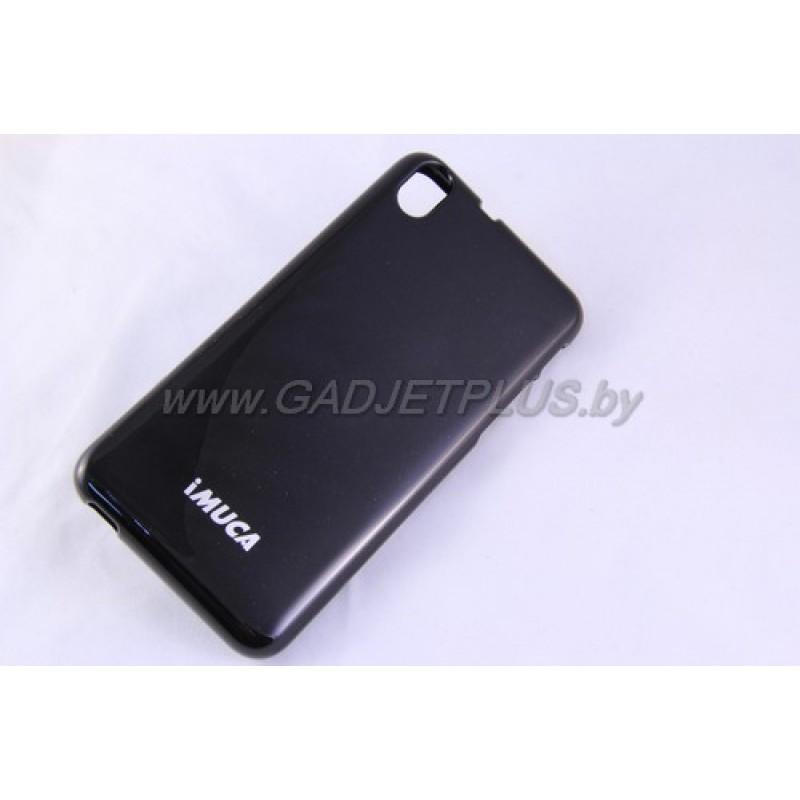 для HTC Desire 816 чехол-бампер iMUCA силиконовый+плёнка+стилус, чёрный