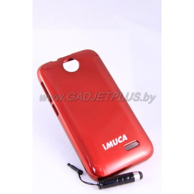 HTC Desire 310 чехол-бампер iMUCA силиконовый+плёнка+стилус, красный