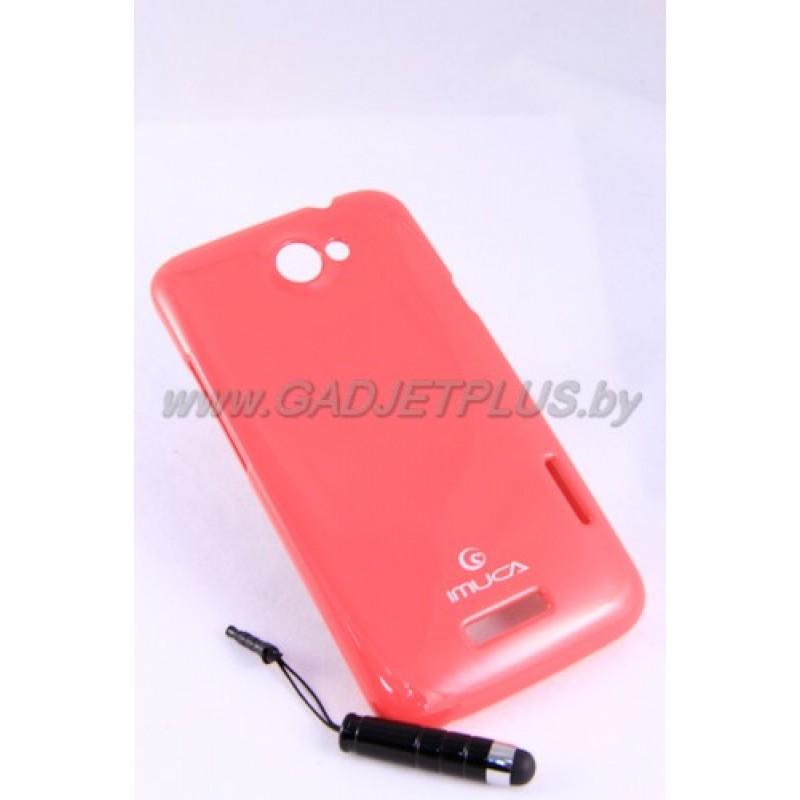 HTC One X чехол-бампер силиконовый iMUCA+плёнка+стилус, розовый