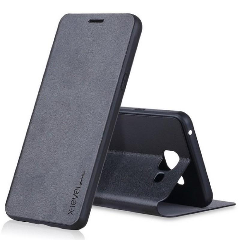 для Samsung Galaxy A5 (2016) / A510 чехол-книжка X-level серии FibColor черный