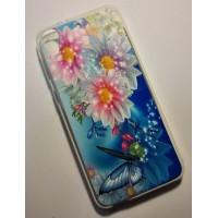 для HTC Desire 626 чехол-накладка силиконовый с картинкой №2059 Бабочки и цветы на голубом