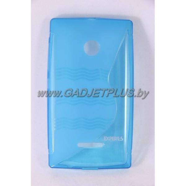 для Nokia Lumia 435 чехол-накладка силиконовый Experts TPU Case голубой