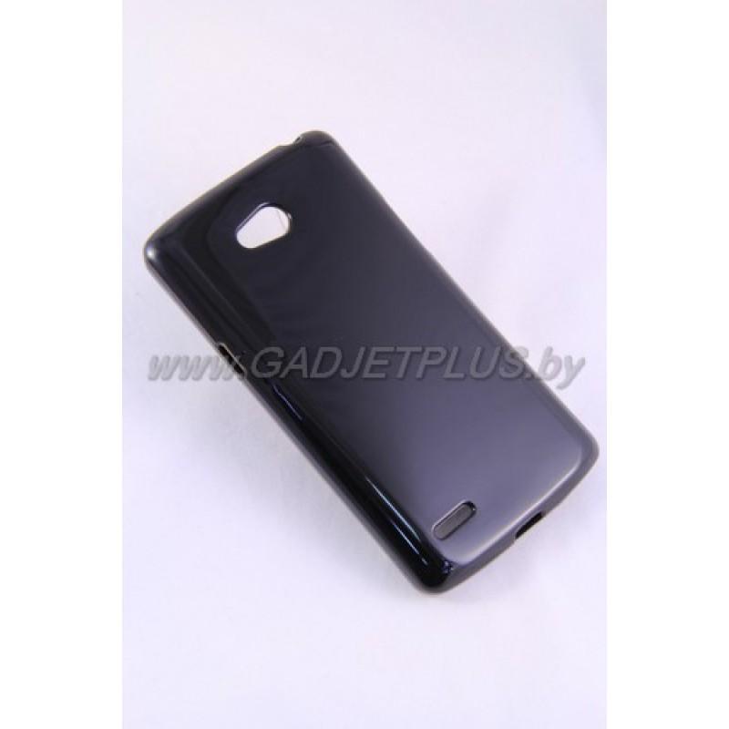 LG L80 D380 чехол-накладка силиконовый JUST , чёрный глянцевый