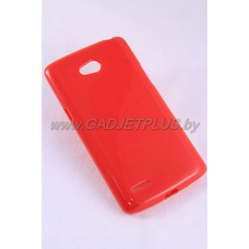 LG L80 D380 чехол-накладка силиконовый JUST , красный глянцевый