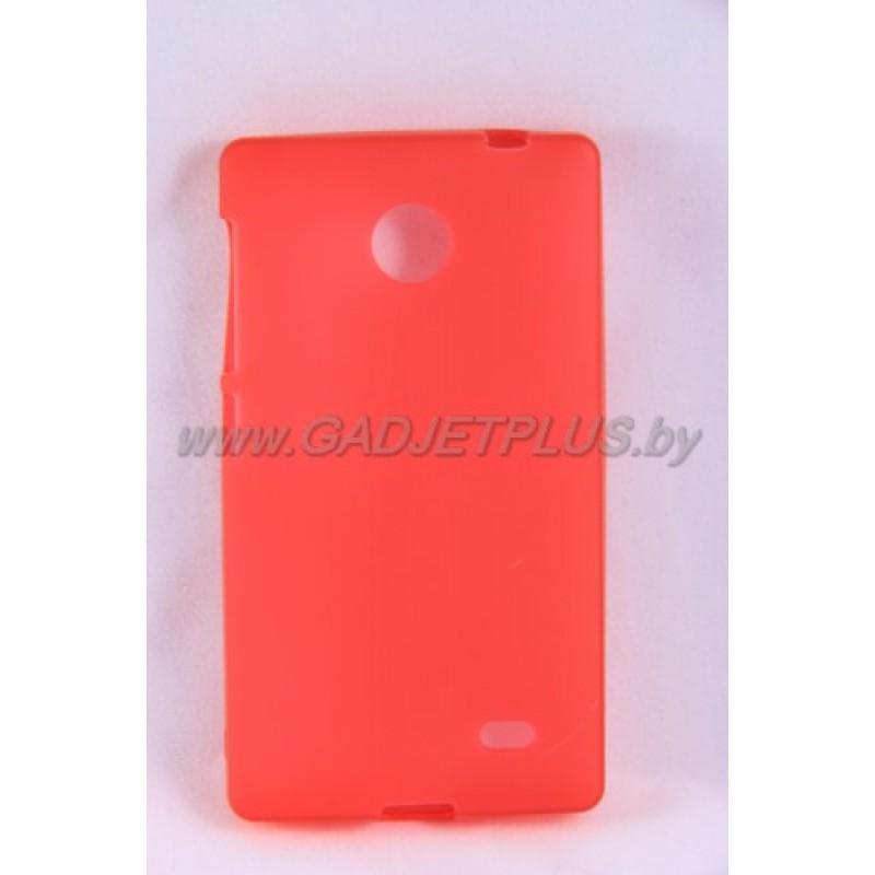 для Nokia X2 силиконовый чехол-бампер JUST матовый красный