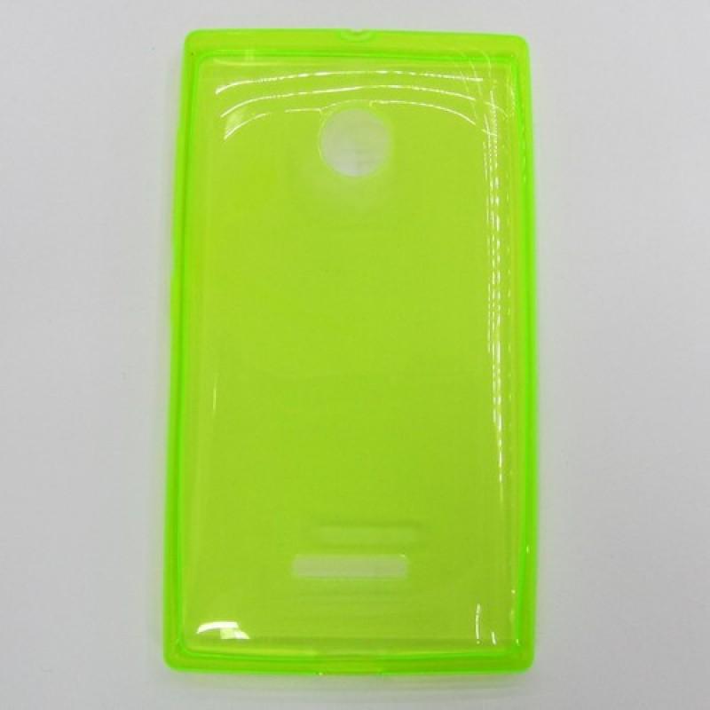для Nokia Lumia 435 Ультратонкий силиконовый чехол-накладка 0.5mm Just Slim зеленый