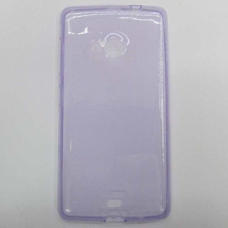 для Nokia Lumia 535 Ультратонкий силиконовый чехол-накладка 0.5mm Just Slim фиолетовый