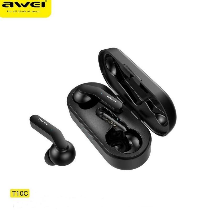 Беспроводные наушники Awei T10C, Bluetooth гарнитура, цвет черный