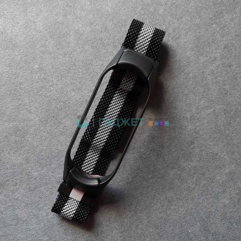 Стальной ремешок для Xiaomi Mi Band 5, цвет 23, черный с белой полосой