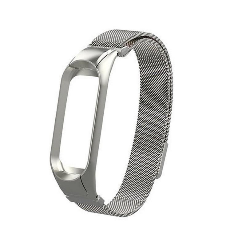 Сменный браслет Xiaomi Mi Band 4 миланская петля (Серебристый)