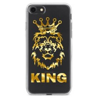 Чехол для телефона с именем (Лев, корона, в золоте) №1119