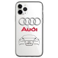 Чехол для телефона с картинкой №2760 Audi. Логотип, контуры машины.