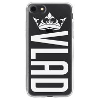 Чехол для телефона с фамилией именем № 1039 VLAD с короной (шрифт BigNoodleTitling)