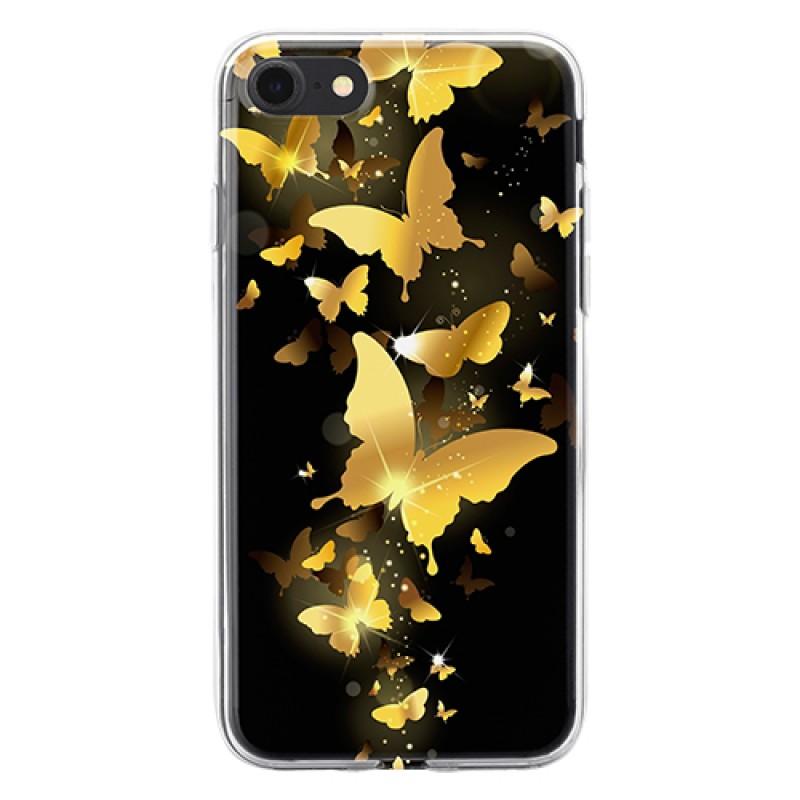 Чехол для телефона с картинкой №2391 Золотые Бабочки на черном фоне