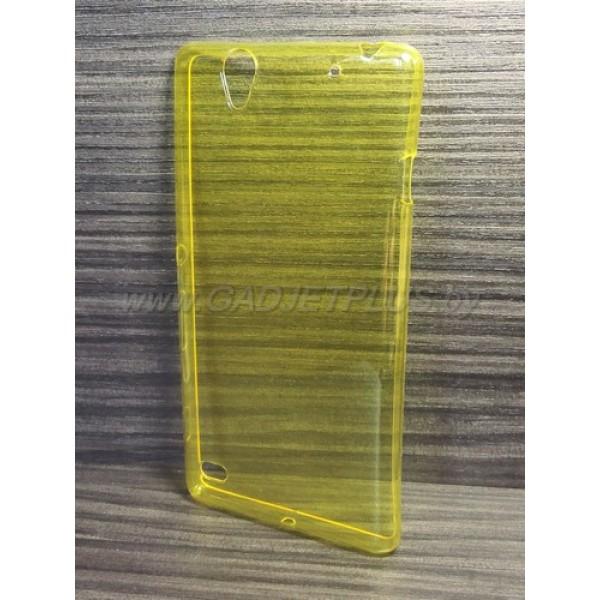 для Sony Xperia C4 Ультратонкий силиконовый чехол-накладкаTPU Case желтый