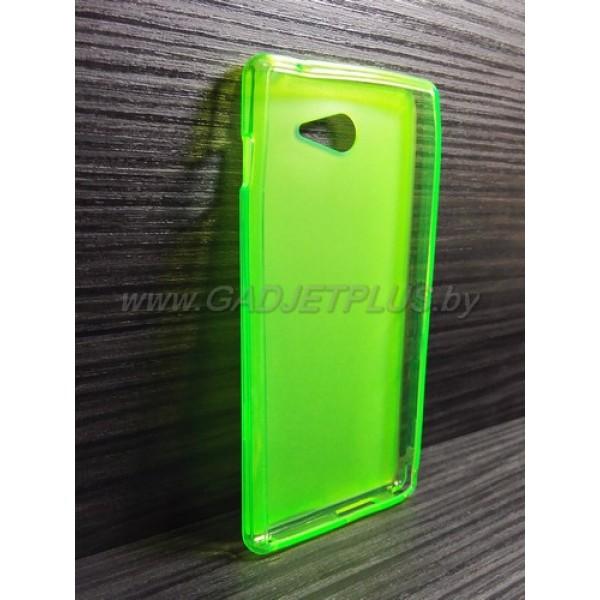 для Sony Xperia M2 (S50H) чехол-накладка силиконовый TPU Case матовый зеленый