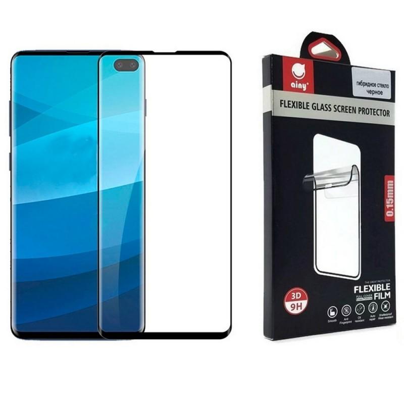Гибридное защитное стекло для Samsung Galaxy S10 Plus на весь экран с полной проклейкой, цвет чёрный
