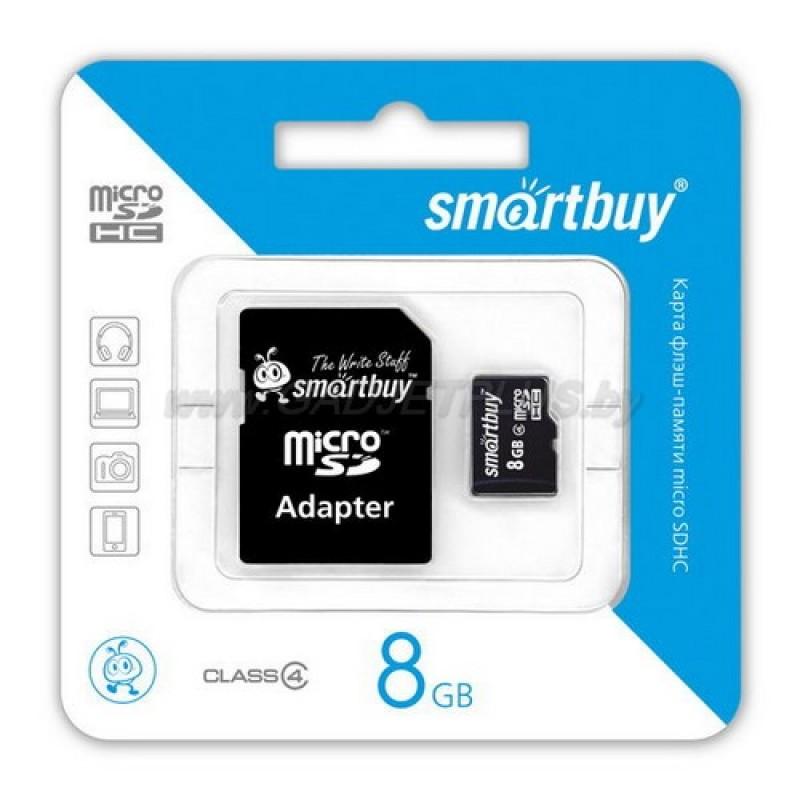 SmartBuy microSDHC 8Gb class 4 с адаптером карта памяти