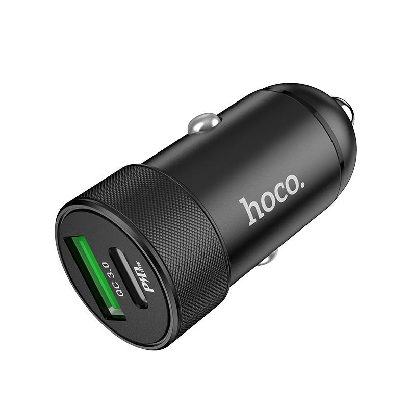 Быстрая зарядка в машину с разъемом Type-C (2 порта USB-A, USB-C) Hoco Z32B, черный