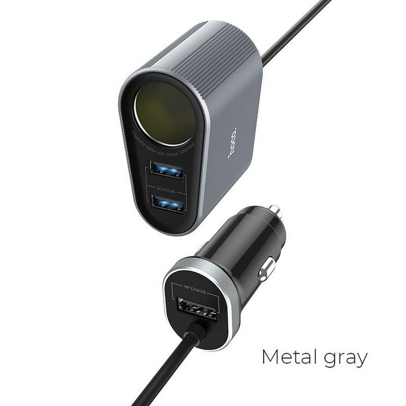 Удлинитель в прикуриватель / USB зарядка Hoco Z35A, серый