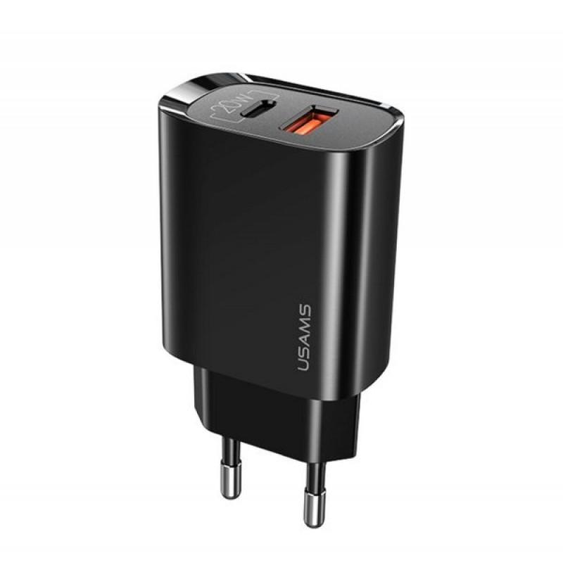 телефон зарядка USAMS US-CC121 T35 1 USB 1 Type-C QC 3 .0 PD 3.0, 20W, черный