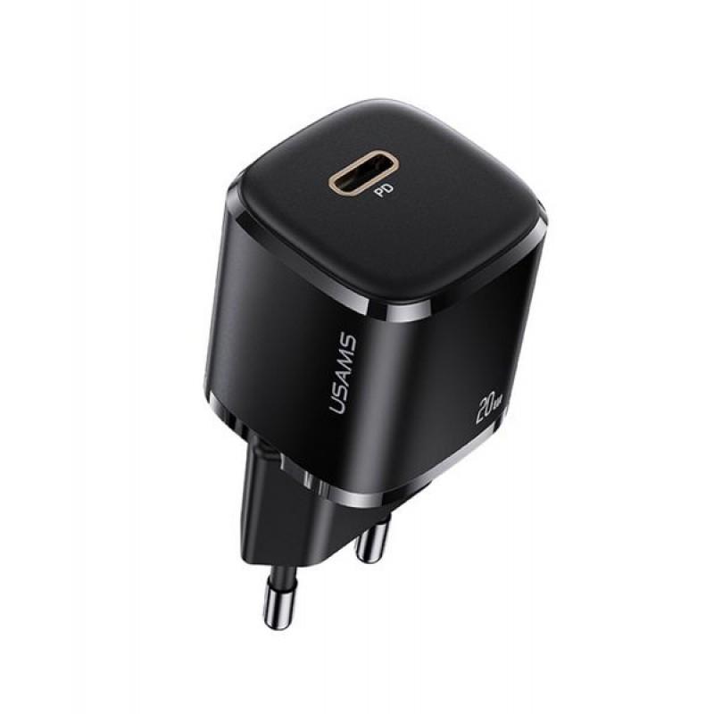 Быстрая зарядка для айфон 12 USAMS US-CC124 T36 1 Type-C PD 3.0, 20W, черный